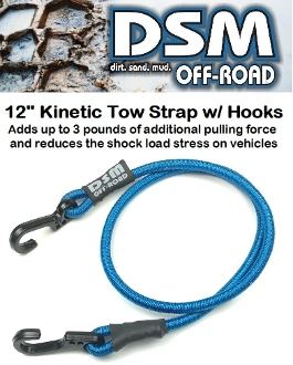 KINETIC RECOVERY RC TOW ROPE STRAP W/ METAL HOOKS - BLUE