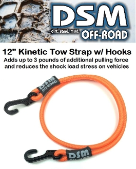 KINETIC RECOVERY RC TOW ROPE STRAP W/ METAL HOOKS - NEON ORANGE