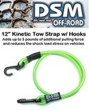 KINETIC RECOVERY RC TOW ROPE STRAP W/ METAL HOOKS - NEON GREEN